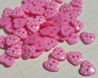 "Pink Heart Buttons - Polka Dots - Sewing Hearts Button Fuchsia Magenta Pink - 9/16"" Wide - 25 Buttons"