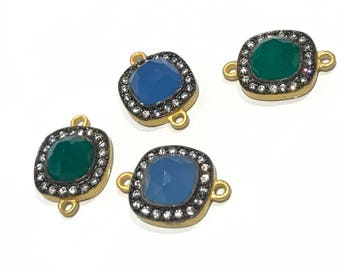 Gemstone Connector, Chalcedony Connector, Gold plated Connector, Green Onyx Connectors, CZ Connector, Bracelet Connectors, 21x16mm  1 Pc