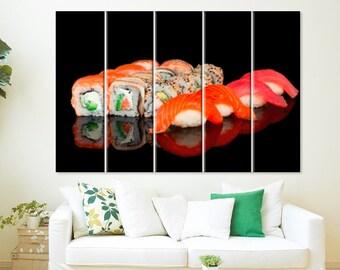 Sushi Canvas Print Sushi Gift Sushi Art Sushi Decor Restaurant Decor Sushi Lover Gift Sushi Wall Art Sushi Bar Decor Kitchen Decor Japanese