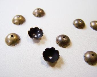 Antiqued Brass 8mm Bead Caps - 30 Pieces