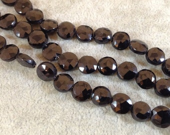 Black Spinel Coin Bead Strand, 8-9mm, approx. 25 beads per strand
