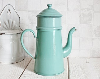 Vintage French Turquoise Enamel Coffee Pot || Rustic Home Decor - Country Style - Shabby Chic