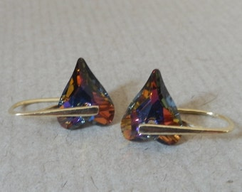 Gold plated Sterling Silver 925 earrings with rainbow heart Swarovski crystals