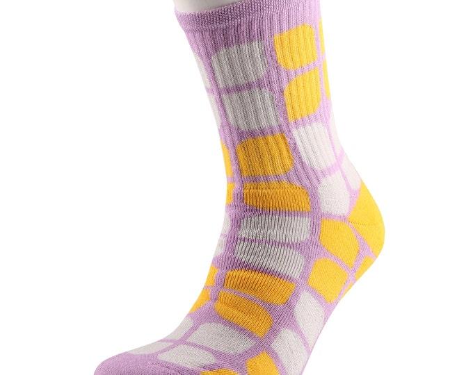 Samson® Flower Power Mango Socks Cotton Fashion Flowers Girly Lilac Yellow