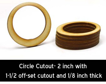 Unfinished Wood Circle Cutout - 2 inches in diameter with 1-1/2 inch offset hole and 1/8 inch thick (CC-CIR04)