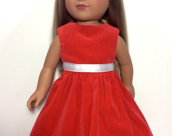 Valentine's Day Doll Dress, 18 Inch Doll Clothes, Red Velveteen Doll Dress, Girl Doll Clothes, Made to Order