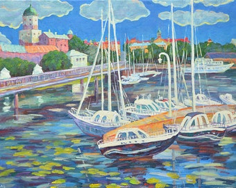 Vyborg cityscape  original impressionist oil painting on canvas interior wall  decorative picture  modern art