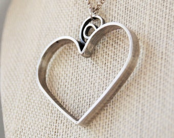 BIg Hearted, Sterling Silver Necklace, SIlver Heart, Mothers Day Gift, Wedding Jewelry, Gift For Her, Customizable, GIft For Mom