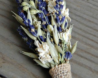 Wedding Boutonniere / Dried Flower Boutonniere / Dried Lavender / Rustic Groom Boutonniere