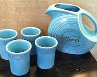 60th Anniversary Fiesta Disc Pitcher and Tumbler set in original box - only displayed, never used