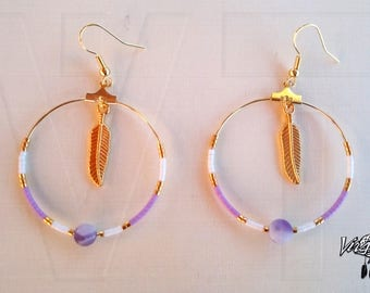 Hoop earrings, feathers, semi precious stone, banded agate, miyuki beads, gold plated 24 CT, is handmade, jewelry, gift for her