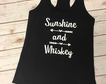 Sunshine and Whiskey Ladies Racerback country tank top