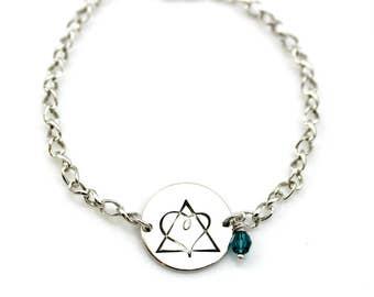 ADOPTION TRIAD BIRTHSTONE Sterling Silver Twisted Chain Hand Stamped Bracelet