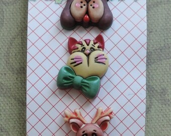 """SALE Christmas Themed Buttons, """"Santa's Pets"""", Holiday Fun Collection by Buttons Galore, Cat, Dog, Deer, Carded Set of 3 Shank Back Buttons"""