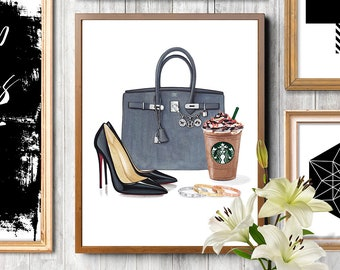 Fashion illustration, Hermes Birkin bag, Hermes illustration, Christian Louboutin, Birkin bag print, Fashion art print, Fashion art gift