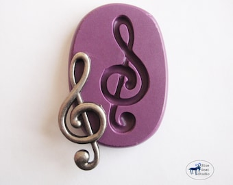Music Note Mold 2 - Clef Note Mold - Silicone Molds - Polymer Clay Resin Fondant