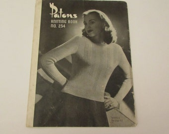 Vintage (1940s) knitting book, Patons No. 254, knitwear for women