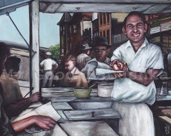 The Hot Dog Man, Original Painting, Food Truck, Street Scene, City, Lunch Hour, Lunch Counter, Vendor, Summer, Food, Short Order Cook