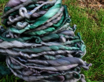 Handspun Art Yarn - Superwash Merino Wool - Bulky Weight Single Ply - OOAK Artisan Yarn - Graveyard Moss