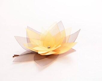 Brown gold organza lotus flower barrette