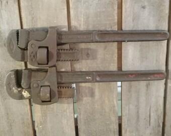 Vintage Pipe Wrenches/Pipe Wrenches/ Wrenches/Old Wrench/Metal Wrenches/Vintage Tools/Old Pipe Wrench/Old Tools/Vintage Plumbers Wrench/Tool