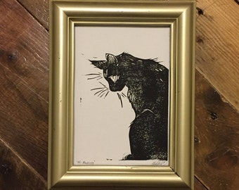 His Majesty - Handmade Cat Block Print
