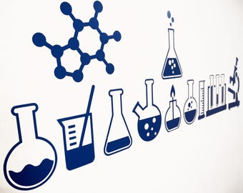 Science Laboratory / Cool Science Vinyl Wall Art Decals/Stickers - Various Colours