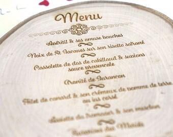 Engraved on wood rodin menu