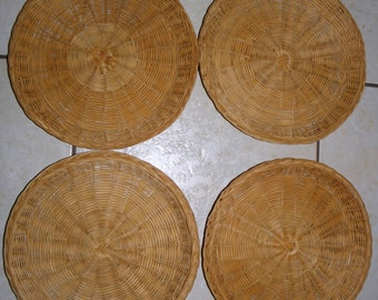 s/4 Vintage Natural Wicker Paper Plate Holders  (A3)    Multiple Sets Available