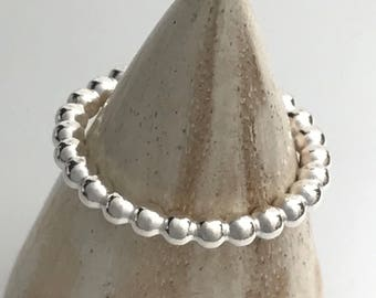 Handmade silver ring,  sterling silver ring,  beaded stacking ring, silver stacking ring