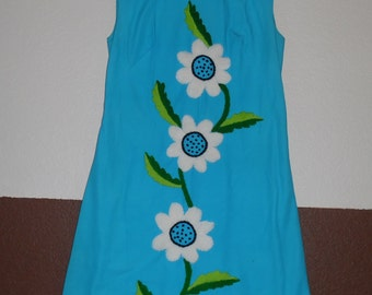 Vintage 1960's A Line Hand Embroidered Floral Dress