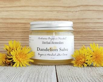 Organic Dandelion Salve, Organic Dandelion Balm,Herbal Salve, Dry Skin Cream, Herbal Cream, Organic Balm with Dandelion Flowers
