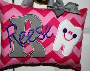 Tooth Fairy Pillow for Girls - Chevron - Hot Pink - Gray - Tooth Chart - Birthday Girl