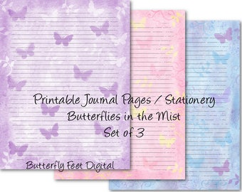 Printable Art Journal Pages, Lined Paper, Printable Stationery, Set of 3, Butterflies, Instant Digital Download