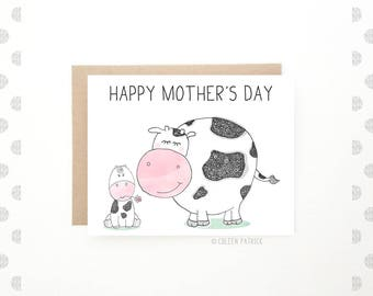 Mother's Day Card - Happy Mothers Day - Mom Card - Recycled Paper - Cute Mom Card - Cow Card - Card for Mom
