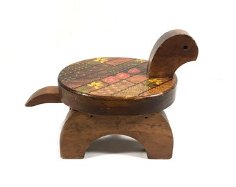Rustic Wood Stool with Turtle Shape, Small Wood Stool, Folk Art Style Vintage Footstool