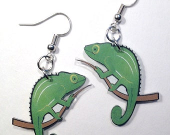 Chameleon Lizard Reptile Lover Earrings Handcrafted Plastic Jewelry Accessories Fashion Novelty Unique Gift Gifts for Her