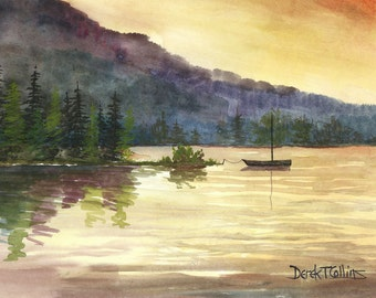 Boat Painting Landscape watercolor lake at sunset water reflections Print Sailboat Trees  Giclee Reproduction 8x10