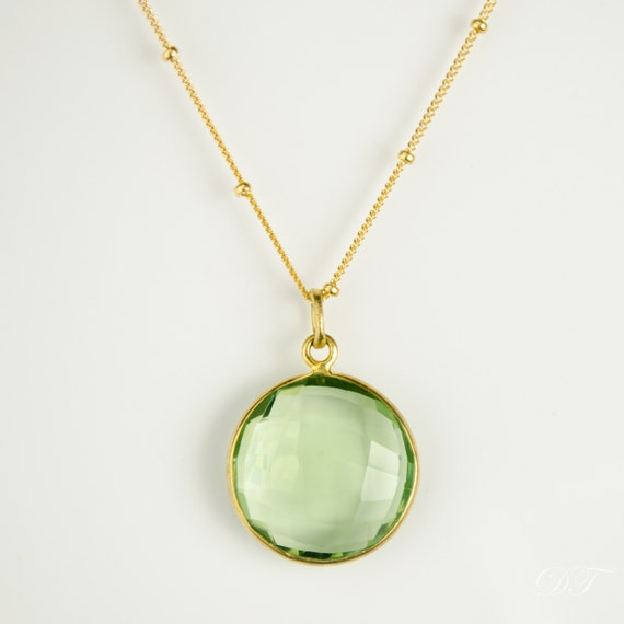 Large green amethyst pendant necklace birthstone for february aloadofball Image collections
