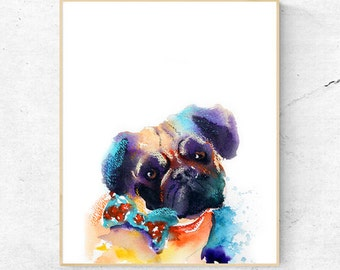 Pug Dog Watercolour Print, Wall Art Print, Large Poster, Printable Digital Download, Great dog lover gift idea, mothers day or fathers day