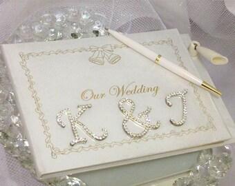 Wedding Reception Rhinestone Monogram Letters Guest Book Wedding Keepsake