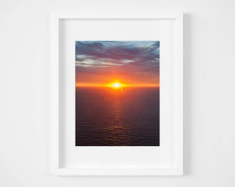 Ocean sunset print - Abstract seascape photo - Colorful California art - Psychedelic nature wall decor - Dreamy photo print - Oceanscape