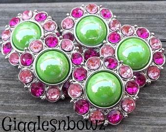 NEW Set of FiVE SHiNY APPLE GReeN Pearl with Pink and Hot Pink Rhinestone Buttons 25mm