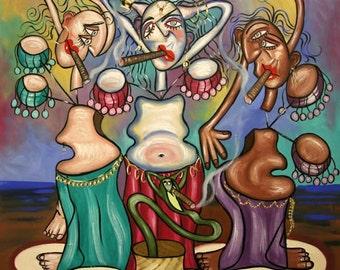 Smoking Belly Dancers Print Cigars Smoke Cubism Poster Anthony Falbo