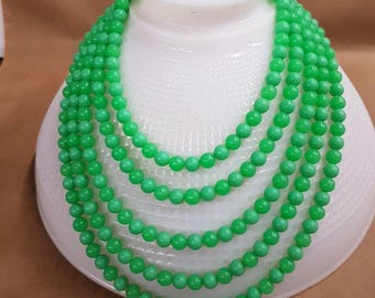 bead necklace jade color bead 5 strands