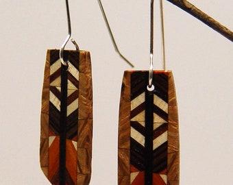 Wood Dangle, Drop, Silver Earwire, Wooden Earrings, earrings, 5-8