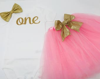 Baby girls first birthday tutu outfit gold | aqua first birthday outfit | First Birthday Outfit Girl | 1st Birthday Girl Outfit