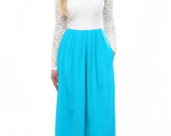 Turquoise White Top Lace Maxi Women's Dress Long Sleeves Pockets Sash