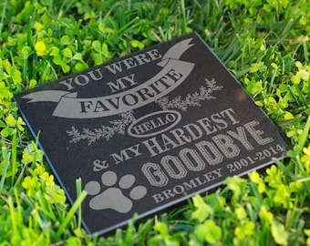 Personalized Memorial Pet Headstone Customized - Favorite Helo Hardest Goodbye - 6 x 6 Marble Cat Dog Memorial StoneBirthday, Rest day, Name