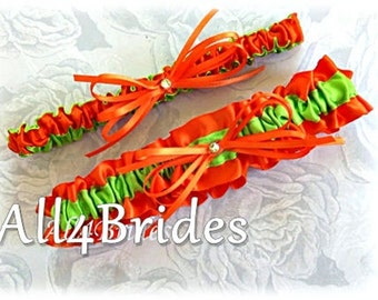 Green and Orange Bridal Garters - Wedding Bridal Accessories or Prom Garters -Keepsake and Toss Bridal Garters